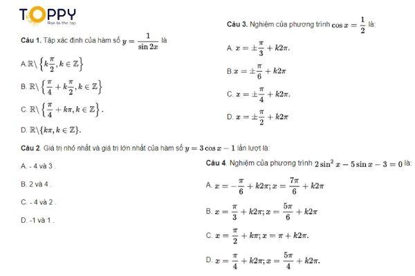 Kho đề thi học kì 1 toán 11 có đáp án