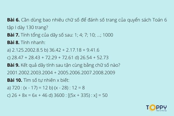 Tổng hợp các dạng bài tập tính nhanh lớp 6