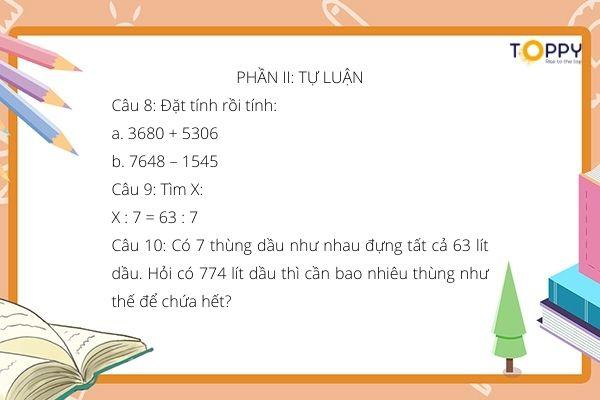 6 ma trận đề thi toán lớp 3 học kỳ 2 mới nhất