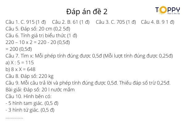 Tổng hợp 6 ma trận đề thi học kỳ lớp 3 môn toán