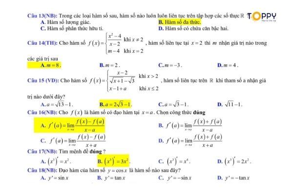 Đề thi toán 11 học kì 2 - tổng hợp đa dạng các dạng bài tập có đáp án